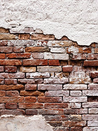 Mural 10182_P4A-MS Fotobehang, behang, muurschildering wereld-der dromen | versleten oude rode muur | fotobehang Mural 10182_P4A-MS | imitatie bakstenen beton P4A (254cm. x 184cm.) bruin, beige, oranje