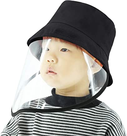 Splash Anti-Spitting Anti-Fog Anti-Oil Protective Cap Kids Fisherman Hat Removable Face Shield(Black) (Color : Black)