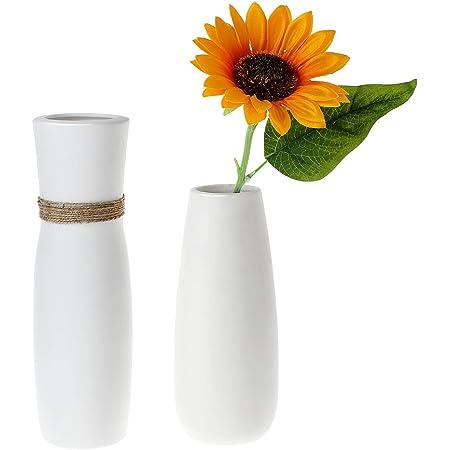 ComSaf Jarrón únicos de Cerámica Blanco Paquete de 2, Flores Plantas Florero Moderno de Porcelana Decoración para Mesa de Comedor Sala de Estar Idea Regalo para Cumpleaños Boda Navidad