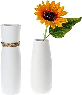 ComSaf Jarrón únicos de Cerámica Blanco Paquete de 2, Flores Plantas Florero Moderno de Porcelana Decoración para Mesa de ...
