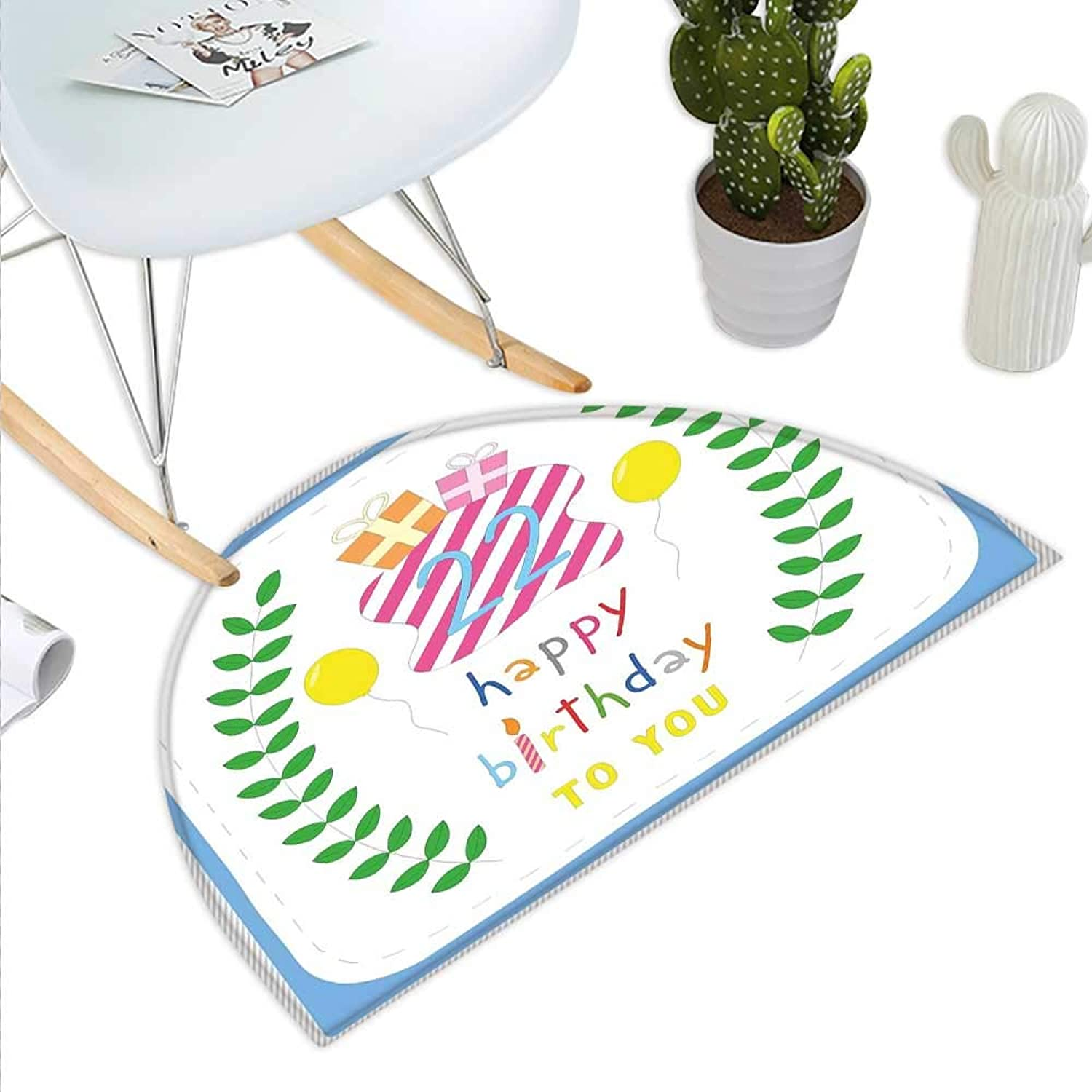 22nd Birthday Semicircle Doormat Anniversary Kids Girls Party with Leaves and Presents Balloon Party Design Halfmoon doormats H 39.3  xD 59  Multicolor