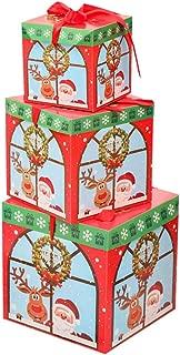 GXOK 1 Set Gift Box(3 Pcs) Christmas Eve Gift Box Xmas Present Wrapping Boxes Red Ribbon Lids