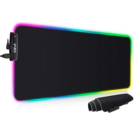 GIM RGB Gaming Mauspad XXL Mauspad Groß 800x300x5mm, Mousepad mit 14 Beleuchtungsmodi und USB Anschlüssen, Langlebig, rutschfest, Gamer für Schreibtisch Tastatur Unterlage, Mauspad Led Groß