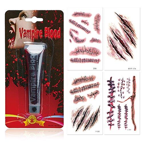 papapanda Sangre Artificial Vampiro Halloween Tatuaje Cicatriz (Vampiro Sangre + Tatuajes)