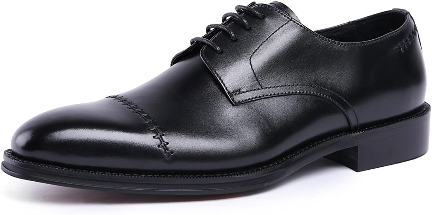 MedzRE Men's Leather Modern Claasic Oxford shoes with Cap Toe