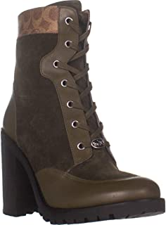 Coach Hedy Lace-Up Booties, Army Green/Tan, 11 US