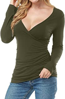 Allegrace Women Open V Front Wrap Pleated Slim Top Tee Long Sleeve Ruched T Shirt