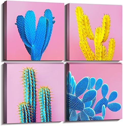 Cactus Wall Art Pop Colorful Tropical Desert Plant Canvas Prints Decor Blue Spiny Flower Picture product image