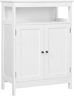 Yaheetech Wooden Bathroom Storage Floor Cabinet, Side Organizer Cabinet with Double Doors and Adjustable Shelf, Freestanding Entryway Console Table, White