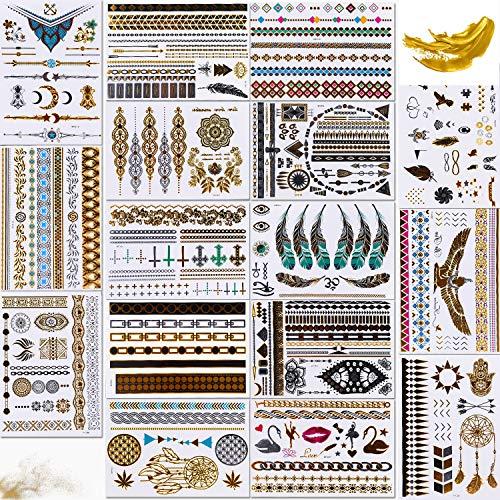 200+Designs Gold Silber Gefälschter Schmuck Body Art Sticker Art Fashion für Frauen, Kinder,Flash Tattoos Gold, 16 Blatt Tattoo Wasserdicht, Metallic Temporary, Glod Tattoo (Style A)
