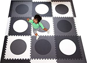 SoftTiles Children's Foam Playmat- Minimalist Geometric Circles- Designer Floor Tiles for Children's Playrooms and Baby Nursery- Large 6.5 x 6.5 ft.- Black, Gray, and White SCCIRBGW