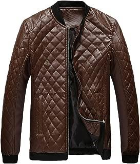 Iuhan Men's Keep Warm Coat Autumn Winter Geometric Print Faux Leather Casual Long Sleeve Jacket Zipper Type Coat Casual Top