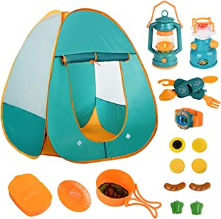 Mitcien 17 PCs Kids Play Tent for Kids Camping Gear Toys Tent Set - Children Kids Pop Up Tent Playhouses Outdoor Indoor Camping Tools Set for Boys Girls Toddler