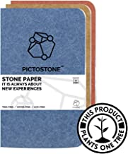 Pocket/Passport Sized - 3 Pack - Ruled - Pictostone Journal/Memo with Premium Thick Stone Paper, Waterproof, Treefree - 3.5