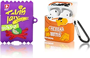 2Pack WQNIDE for Airpod 2/1 Case, Takis Potato Chips & Goldfish Cookie Airpods Cover, Candy Cute Fun Fashion Food Skin Protective Cover Accessories Soft Silicone with Keychain for Girls Airpod 2/1