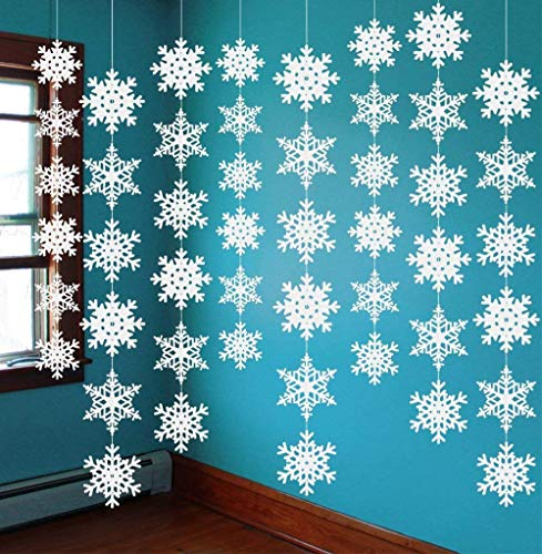 jollylife 12PCS Snowflake Winter Wonderland Birthday Decorations - Christmas Hanging White Party Decor Supplies