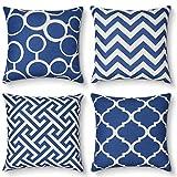 AYUNK Fundas de cojín de algodón, Lino, Cuadrado, diseño geométrico, Fundas de cojín para sofá, Cama y Coche, Paquete de 4, 45 cm x 45 cm (18'x 18')
