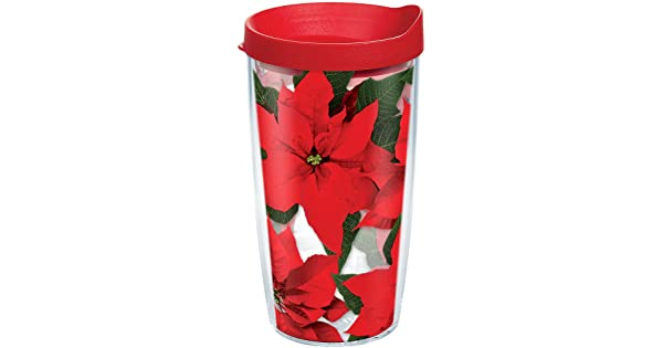 We have the holidays covered in poinsettias Tervis 1091193 Tumbler with Lid Red Your Christmas spirit will be in full bloom with this popular floral design