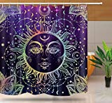 Sonne & Mond Duschvorhang, Burning Sun with Star Psychedelic Theme Badvorhang, Waschbares Upgrade Polyestergewebe für Badezimmer Zubehör Set mit 10 Haken, 60W x 72L Zoll, Lila, YLYYNT7-60