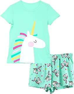 Girls Unicorn Pajamas - 100% Cotton Short Sleeve Tee &...