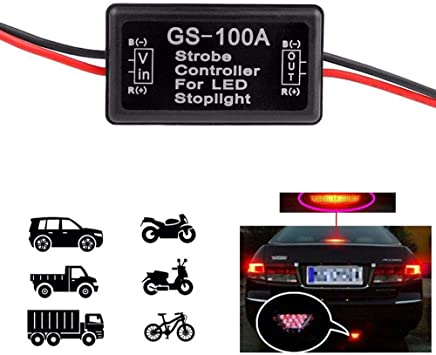 GS-100A Car LED Brake Stop Light Lamp Flasher Module Flash Strobe Controller New
