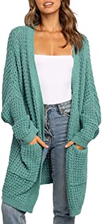 Womens Batwing Sleeve Long Cardigan Chunky Knit Open...