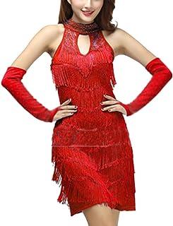 c759aedf21f72 Femme Latine Sangle Robe Paillettes Tassel Rumba Danse Salon Fancy Gland  Robe