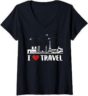 Femme C'est Drôle, J'adore Voyager I Love Travel T-Shirt avec Col en V