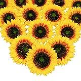 Mocoosy 5.5 ' Flores Artificiales Girasoles Cabezas - Grandes de Color Amarillo Seda Flores de Sol para Bodas hogar jardín Fiestas Decoraciones Flores Falsas para Manualidades Bricolaje