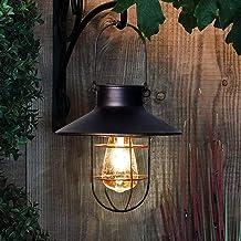 Solar Lantern Outdoor Hanging Light Vintage Solar Lamp with Warm White Edison Bulb Design for Garden Yard Patio Decor(Black)