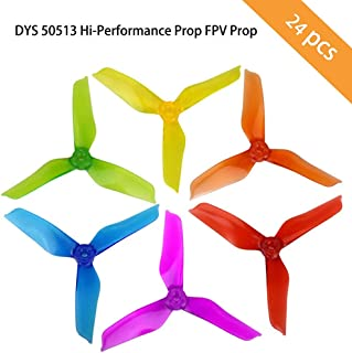 DYS 50513 Hi-Performance Prop FPV Props CW/CCW, 5-inch 3-Blade Propellers for Sized 200 210 230 250 320 FPV Racing Quadcopter Multicopter (12Pairs=24pcs Mix Color)