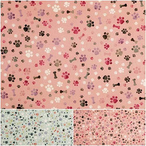 DIE NÄHZWERGE Baumwollstoff Popeline Pfoten & Knochen Motivkollektion – Meterware ab 50cm   100% Baumwolle – Nähen Patchwork Hund Katze Tier (rosa)