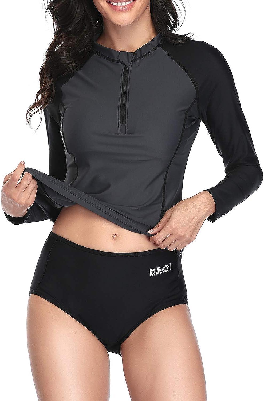 Daci Women Rash Guard Long Sleeve Zipper shipfree Built Suit Bathing Deluxe with
