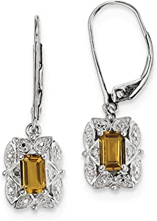 925 Sterling Silver Diamond Whiskey Quartz Leverback Earrings Lever Back Drop Dangle Fine Jewelry Gifts For Women For Her
