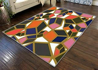 Area Rug Home Decor Baby Crawling Mats Non-Slip Pad geometric seamless pattern cubes with colored faces scattered randomly...
