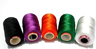 GOELX Silk Thread For Jewelery-Making 5 Spools - Black, Purple, Red, Green And White