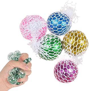 5 stycken squeeze meshboll, ZoneYan nätbollleksak, stressboll med nät glitter, fidget Toy stressboll, klämboll i nätet, fö...