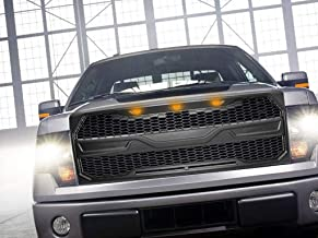 HighFlyers For 2009-2014 Ford F150 Front Grill Raptor Style Conversion with LED light (MATT BLACK)