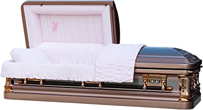 Overnight Caskets - Silver Rose Brush W Pink Velvet Interior - 18 Gauge Metal Casket/Coffin