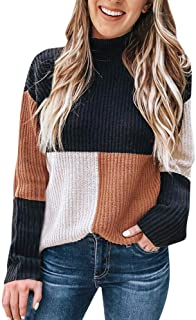 VEZAD Womens Knitted Loose Sweater Color Matching Shirts Casual Blouse Pullover