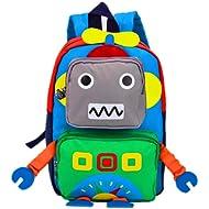 TeMan Kids Backpack Kindergarten Cartoon Schoolbag Robot (Green)