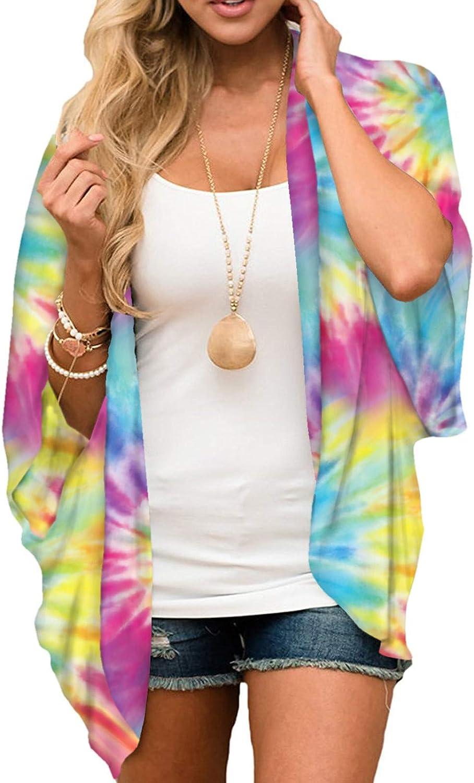 Women's Summer Floral Print Kimonos Loose Half Sleeve Chiffon Cardigan Blouses Casual Cover Up Sun Protection Beachwear