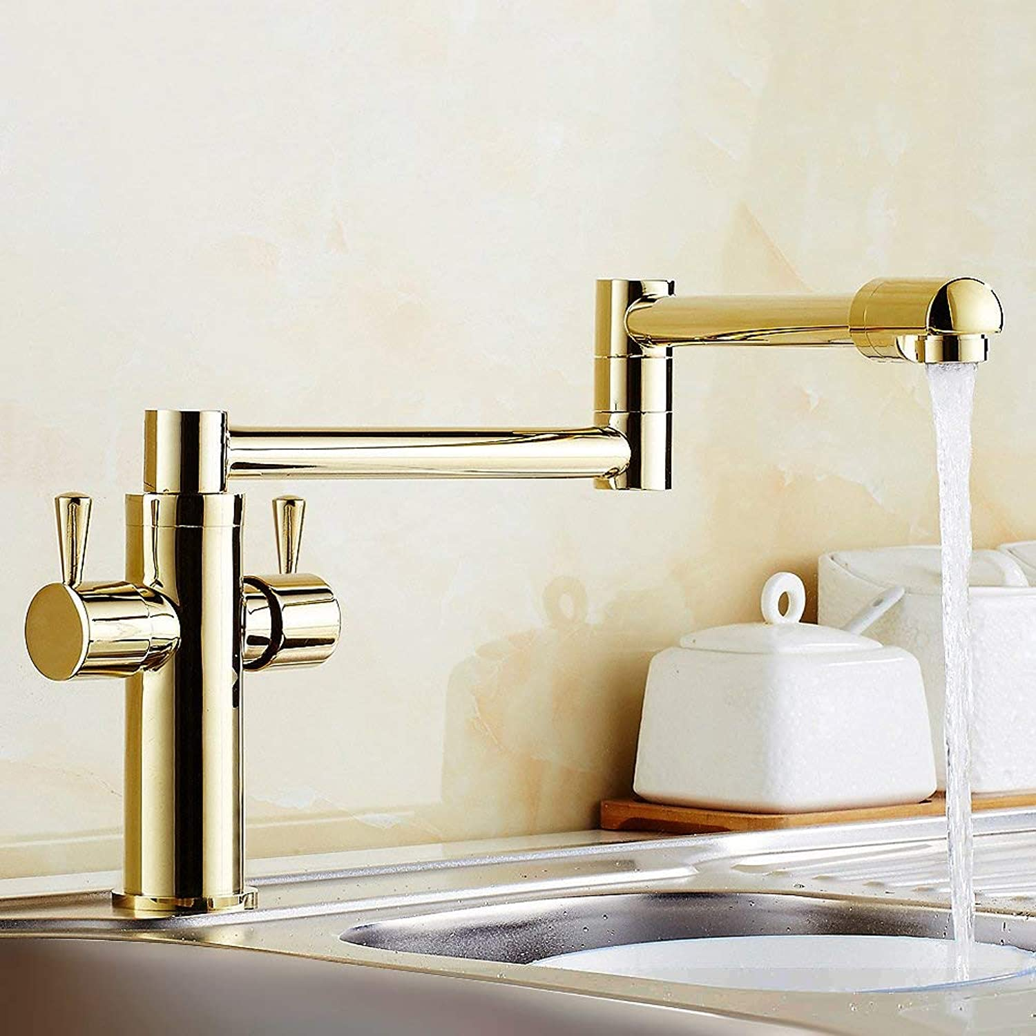 BDYJY ? Deck-Mount Retractable Pot Filler Kitchen Tap with Double Handle in Multi Finish (gold)