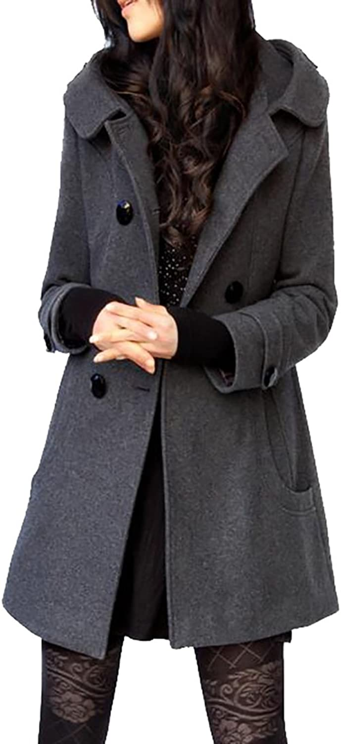 CBTLVSN Women's Hooded Double Breasted Wool Blend Trench Coat Winter Jacket
