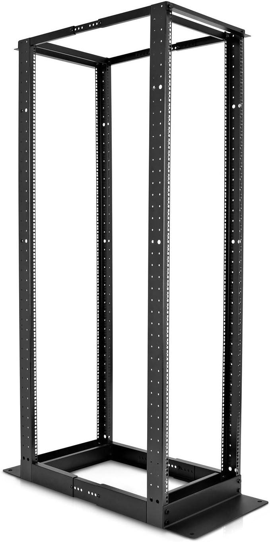 V7 RM4POF42U-1N 42U Open Frame 4 Post Rack (Vertical Cable Management Included, Cold Rolled Steel, Adjustable Depth)