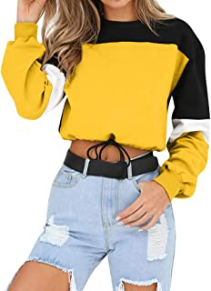 Winsummer Women's Sweatshirt Long Sleeve Drawstring Hem Crop Top Color Block Pullover Sweatshirts Tops