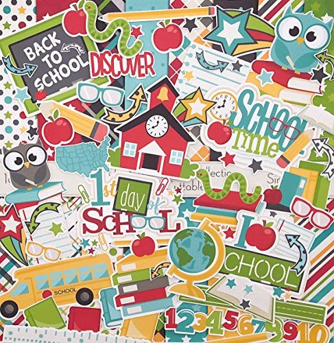 Die Cuts & Paper Set - Back to School - by Miss Kate Cuttables - 16 Single - Sided 12'x12' Premium Specialty Paper Sheets & Over 60 Coordinating Die Cuts