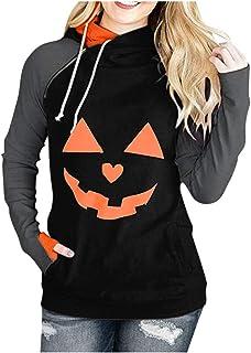 pipigo Women Top Pullover Stitching Loose Long-Sleeve Print Sweatshirts