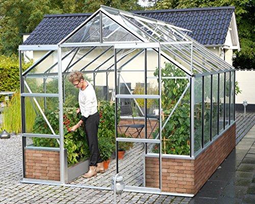 Gartenwelt Riegelsberger Gewächshaus Cassandra - Ausführung: 9900 ESG 3 mm Alu, Fläche: ca. 9,9 m², mit 4 Dachfenster, Sockel: 2,56 x 3,88 x 0,50 m