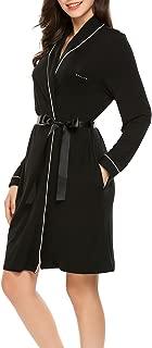 Women's Cotton Bathrobes Soft Kimono Robe Knee Length Spa Robe XS-XL